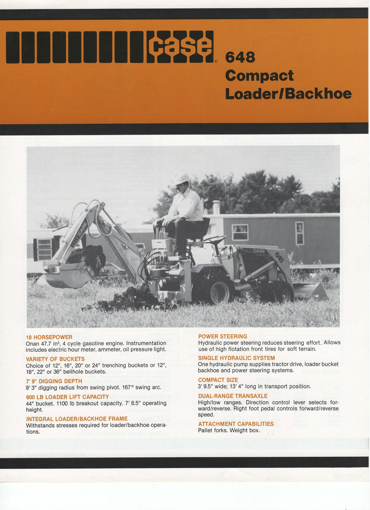 Case 648 Compact Loader Backhoe Sales Brochure