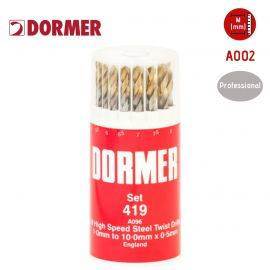 DORMER A002 HSS Jobber Twist Drill Set No. 419 - 19 Pieces - (1.0mm to 10.0mm), image