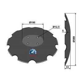 Niaux 200 Discs - 580mm x 5mm Pilot Hole Size Flat, image