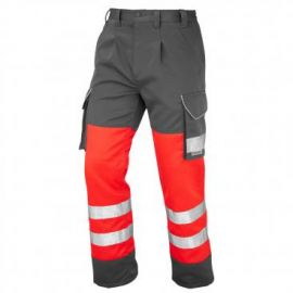 Bideford ISO 20471 Class 1 Hi Vis Cargo Trouser Two Tone Red/Grey, image