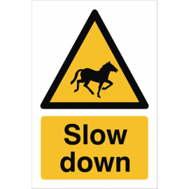 Slow Down Horses Sign, image